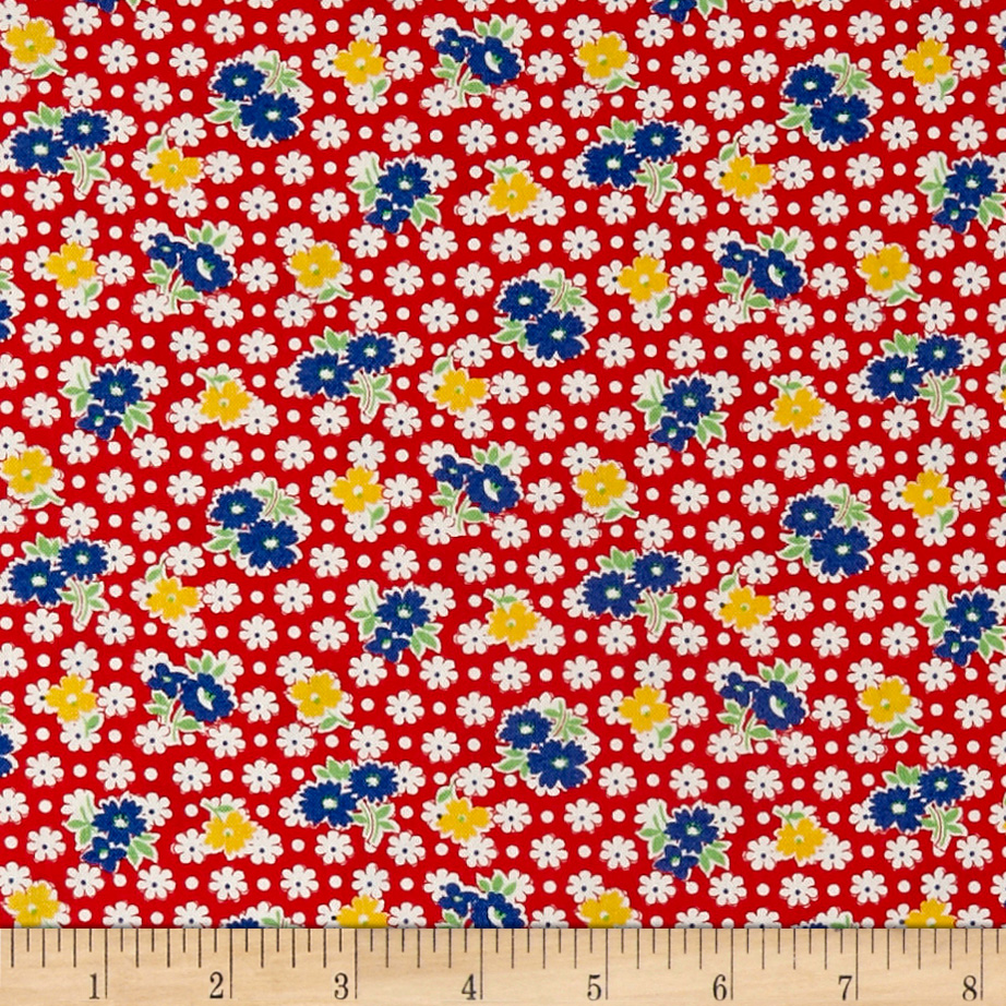 1930s Fashion Colors, Clothing & Fabric Hollys Dollies Tossed Flowers Red Fabric $9.48 AT vintagedancer.com