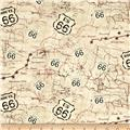 Timeless Treasures Route 66 Map Beige