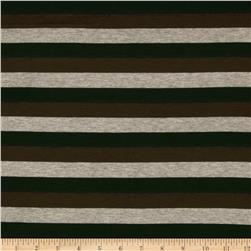 Designer Stretch Rayon Jersey Knit Stripe Grey/Brown/Dark Teal