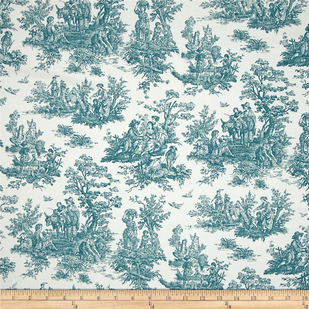 Premier Prints Jamestown Toile Plantation Blue Discount