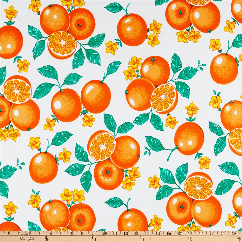 Oilcloth Oranges White Fabric