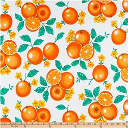 Oil Cloth Oranges White