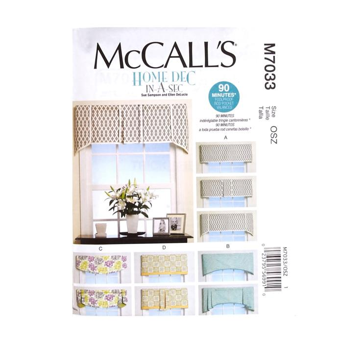 McCall's Window Treatments Pattern M7033 Size OSZ