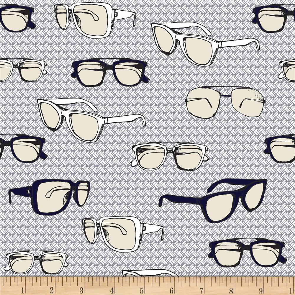 Riley Blake Speedster Sporty Glasses Grey