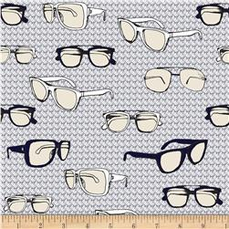 Riley Blake Speedster Sporty Glasses Grey Fabric