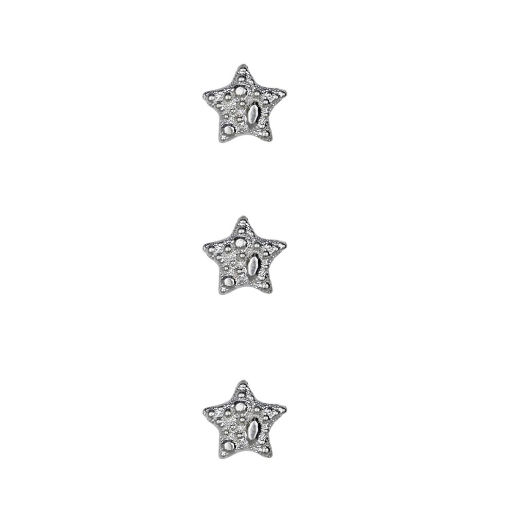 Dill Novelty Button 7/16'' Faux Metal Star Silver