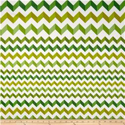 Crinkle Stripe White/Green Fabric
