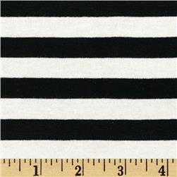 Designer Stretch Yarn Dyed Jersey Knit 1/2'' Stripes White/Black