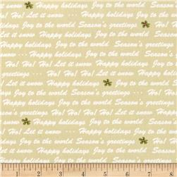 Winter Wishes Winter Words Taupe Fabric