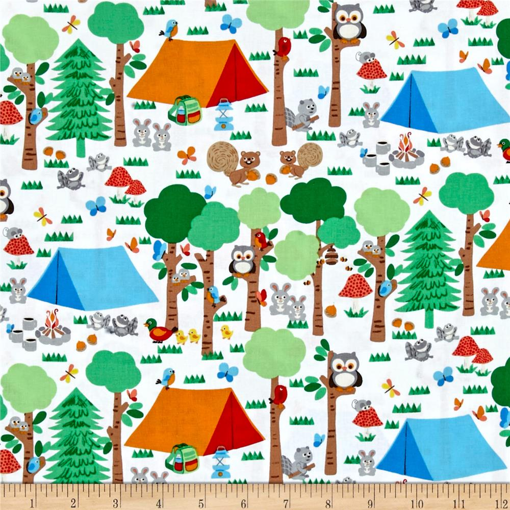 Camping Club Forest Scene White Fabric