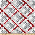 Dear Heart Rickrack Plaid Gray Red