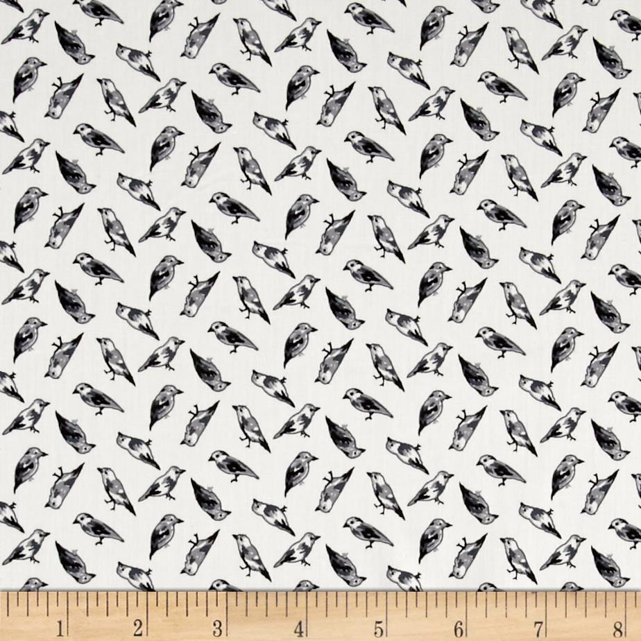 Telio Morocco Blues Stretch Poplin Bird Print Grey