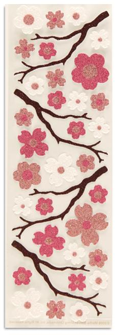 Martha Stewart Crafts Stickers Glitter Cherry Blossoms Pink