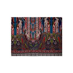 Rayon Challis Tribal Floral Garden Double Border Navy/Red/Green