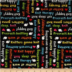 Knit Happy Knit Phrases Black/Multi