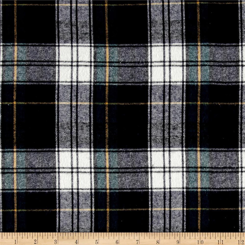 Yarn Dyed Flannel Plaid Navy Green Fabric