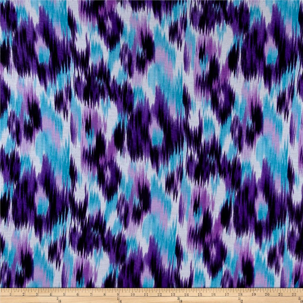 Jersey Knit Abstract Diamond Purple/Turquoise/Ivory
