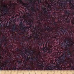 Bali Batiks Handpaints Mixed Leaves Purple