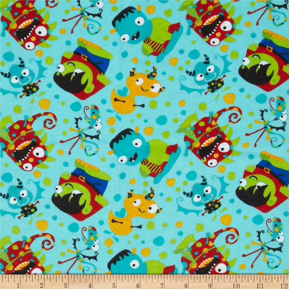 Flannel Tossed Monsters Blue