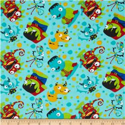 Flannel Tossed Monsters Blue Fabric