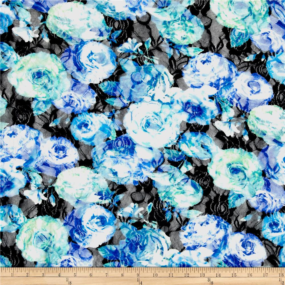 Floral Printed Lace Black/Blue
