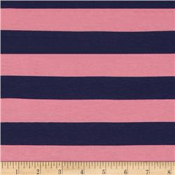 "Riley Blake Jersey Knit 1"" Stripes Navy/Hot Pink"