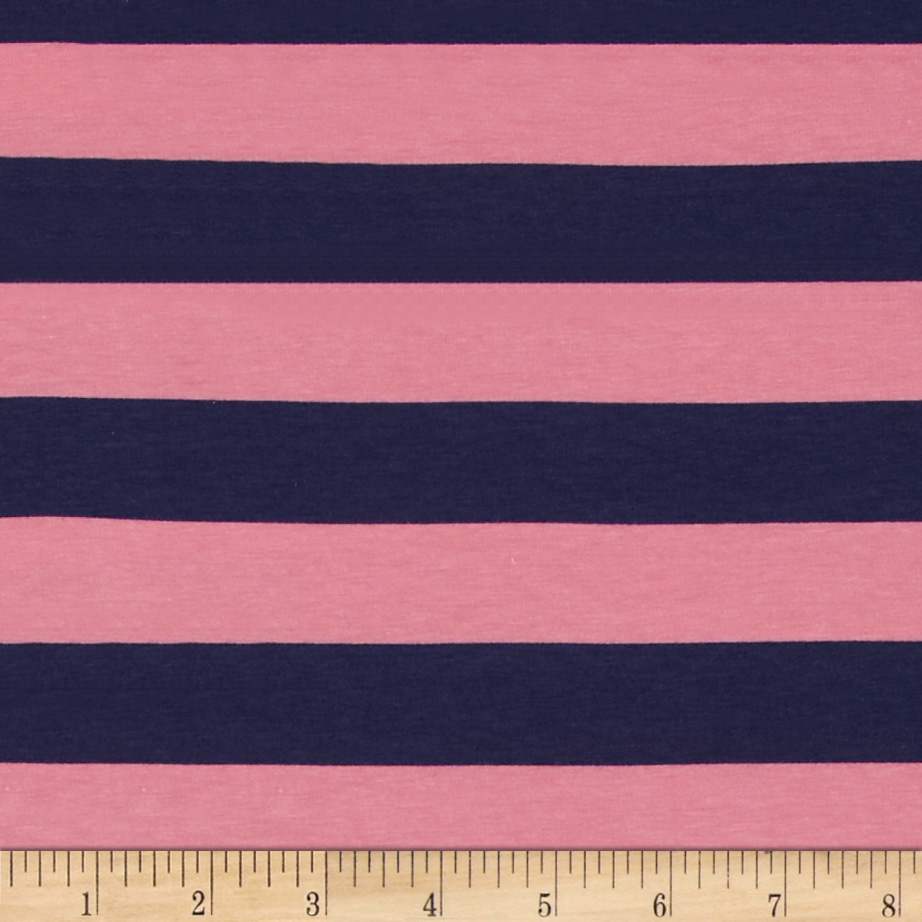 Riley Blake Cotton Jersey Knit 1'' Stripes Navy/Hot Pink Fabric by Christensen in USA