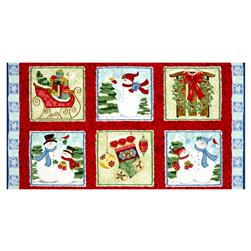 "Sharla Fults Winter Joy Winter Joy Boxes 24"" Panel Red"