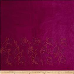 Italian Designer Cotton Velvet Embroidered Single Border Magenta