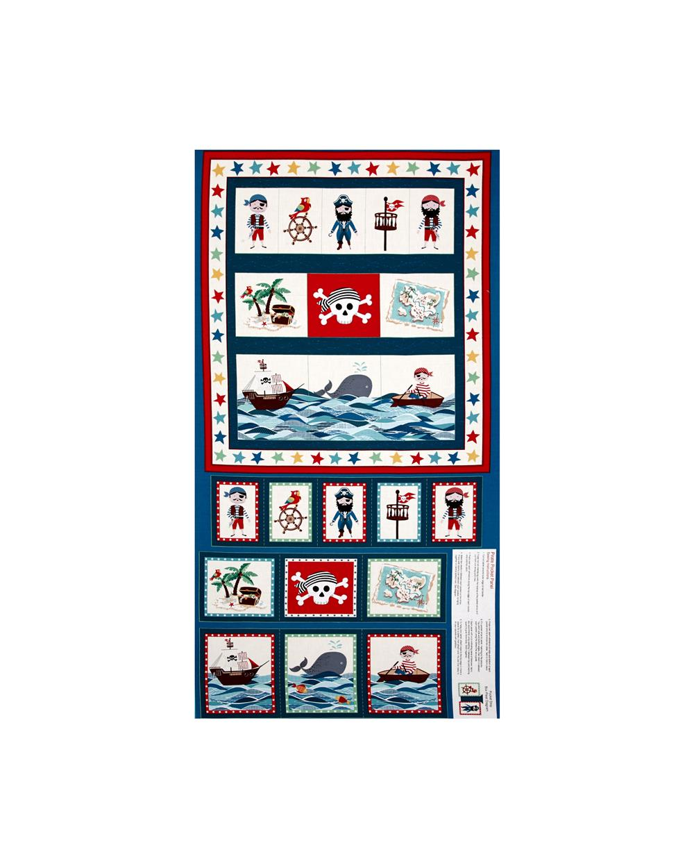 Pirates Pirate Pockets 23 In. Panel Blue Fabric By The Yard