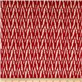 Designer Stretch Rayon Jersey Knit Chevron Stripe Red/Tan