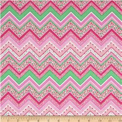 Patterned Chevron Bright Pink Fabric
