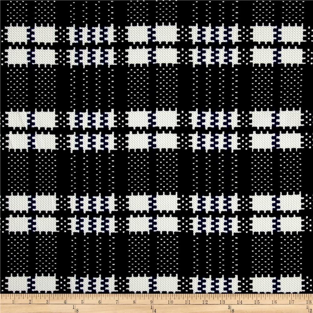 Plaid Double Knit Print Ivory/Blue/Black