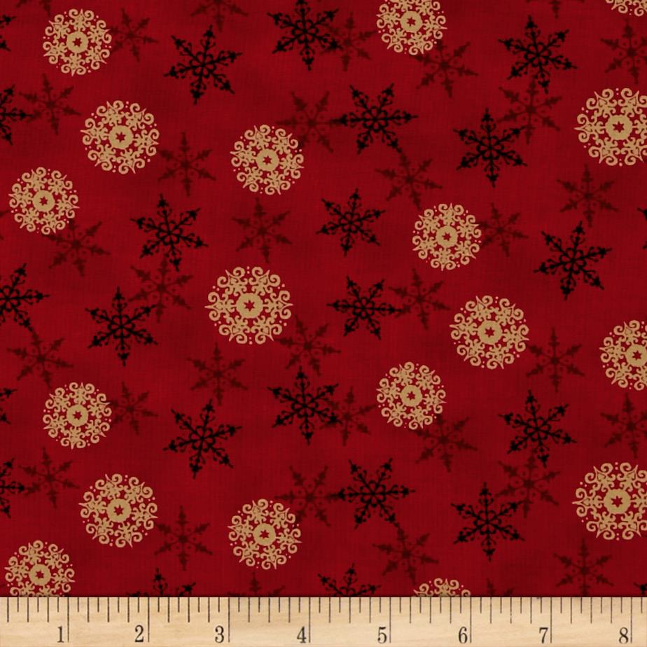 Moda Rejoice In The Season Layered Snowflakes Berry Red Fabric By The Yard