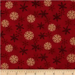 Moda Rejoice In The Season Layered Snowflakes Berry Red