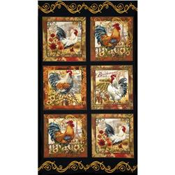 Timeless Treasures French Country Rooster Panel Black