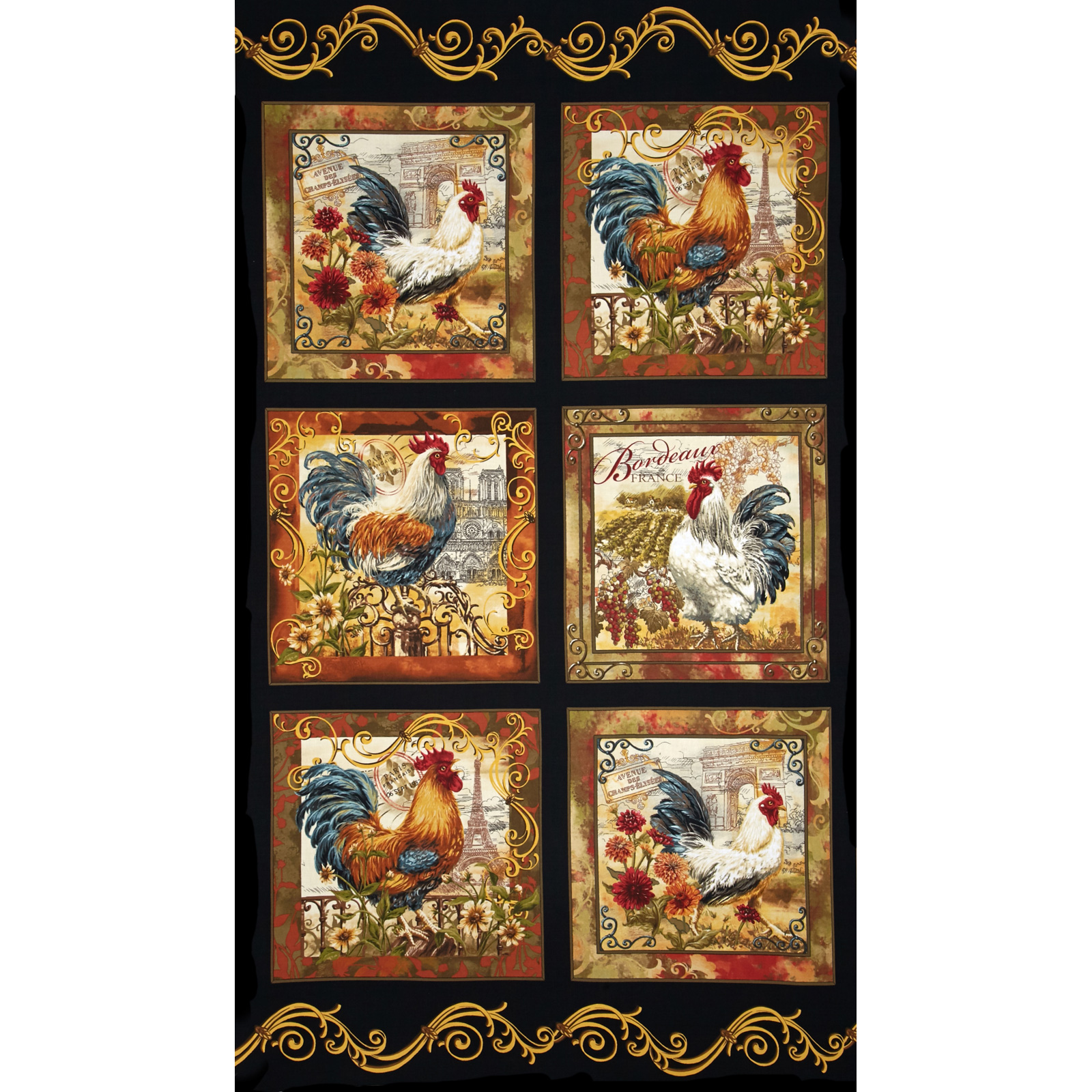 Timeless Treasures French Country Rooster Panel Black Fabric by Timeless Treasures in USA
