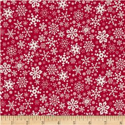 Season's Greetings Snowflakes Allover Red