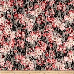 Printed Stretch Lace Floral Black/White/Coral/Pink/Purple/Green
