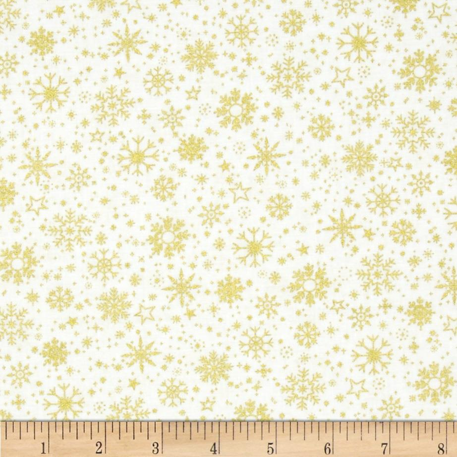 Season's Greetings Snowflakes White