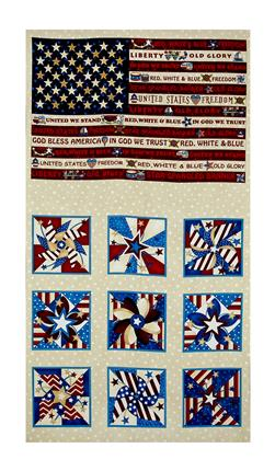 "Libertyville US Folk Flag 23.5"" Panel Cream"