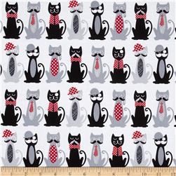 Timeless Treasures Fur & Flutter Cats with Mustaches White