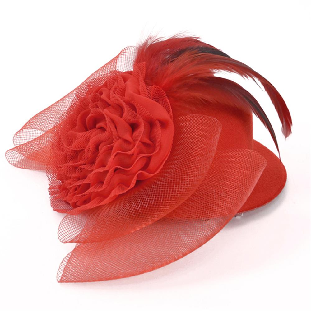 "8"" X 2-1/2"" Fascinator Mini Top Hat Scarlett Red"