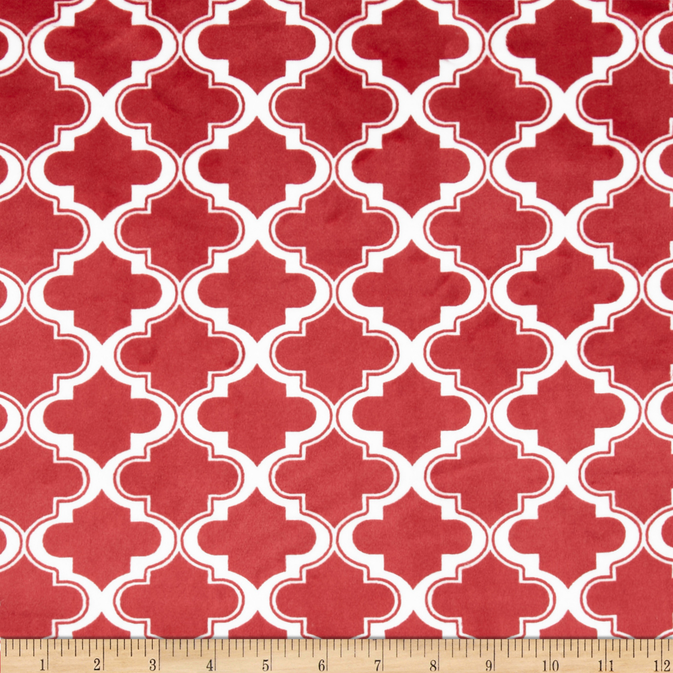 Minky Moroccan Tile Brick Red Fabric
