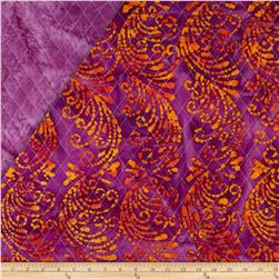Indian Batik Double Sided Quilted Vertical Vine Orange/Magenta