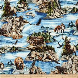North American Wildlife 3 Animal Collage Nature Fabric