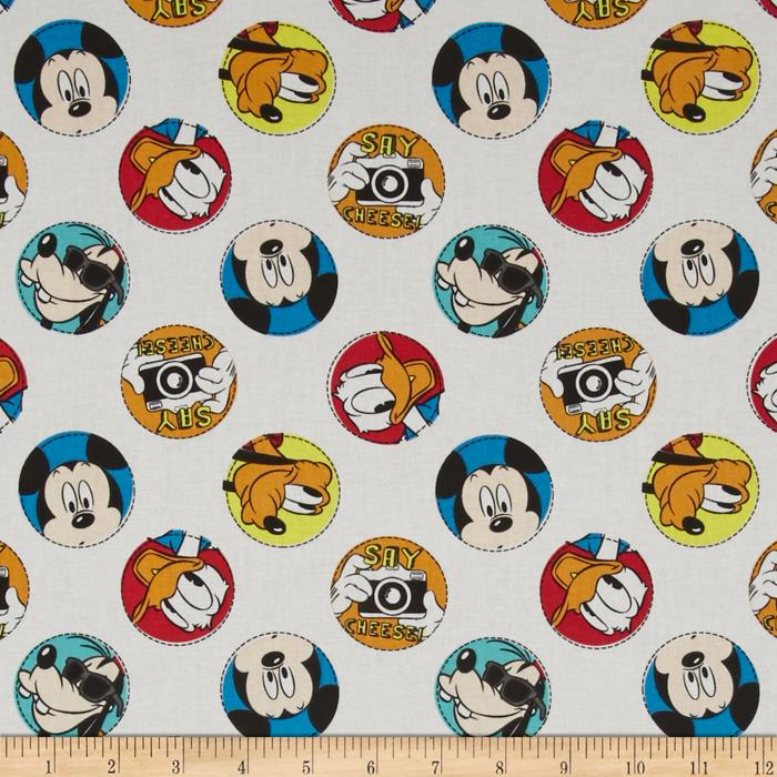 Disney Mickey Say Cheese Character Badge White