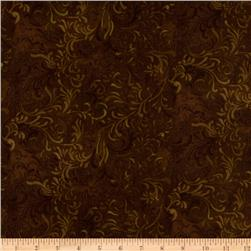 "108"" Flourish Quilt Backing Brown"