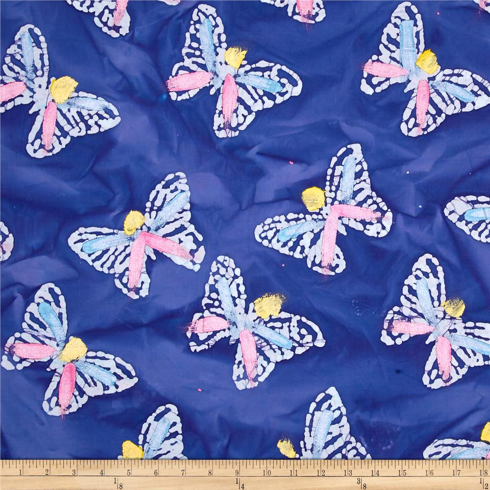Indian Batik Hand Painted Butterfly Blue