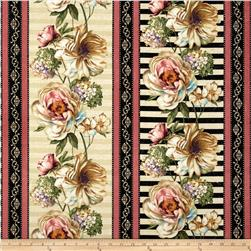 Marche de Fleurs Floral Repeating Stripe Cream/Pink